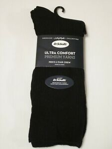 Dr. Scholls Mens Premium Ultra Comfort Dress Casual Crew 2 Pair Socks Black NEW