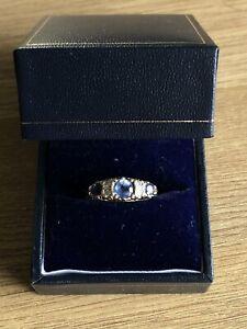 9 Carat Gold Half Eternity Ring With Ceylon Sapphire And Diamond