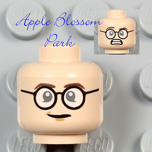 NEW Lego Male Boy Light FLESH MINIFIG HEAD - Egon Spengler w/Glasses Smile 21108