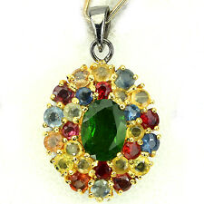 GENUINE GREEN CHROME DIOPSIDE, FANCY SAPPHIRE 925 SILVER CLUSTER PENDANT ChainFr