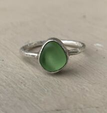 Sterling Silver Green Sea Glass Ring Size 8