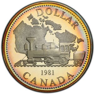 PR67DCAM 1981 $1 Canada Trans-Can Silver Proof Dollar, PCGS Secure- Pretty Toned