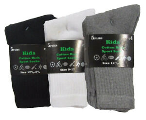 New Kids Boys Girls *5 Pack Value* Sport PE School Running Cotton Rich Socks