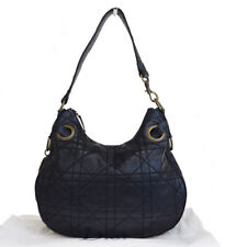 Auth Christian Dior Lady Cannage Hobo Shoulder Bag Leather Black Italy 04BJ647