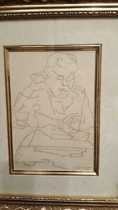 SIGNED ARTWORK Rodney Davis Original Drawing pen & ink on paper, Framed & matted