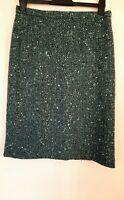 EASTEX Tweed Teal Black Cream Boucle lined skirt. UK 12 Wool Blend