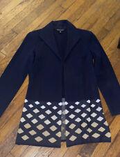 Ming Wang blue tan cardigan sweater blazer M long