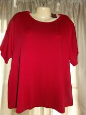 NWT Women's JM Collection Red Ribbed Short Sleeve Tee - size 3X