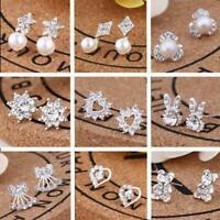 1 paar Silber Stud Ohrringe Sparkly Steinen Mode Studs Mädchen Legierung T2Y5
