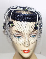 New listing Vintage Navy Blue Ring Straw Hat with Veil and Applied Flowers