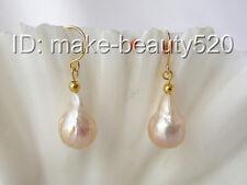 big 15mm baroque pink keshi reborn freshwater pearl dangle earrings 14K s1826