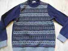 MANGO schöner gemusterter Wollpullover blau Gr. M TOP ZC517