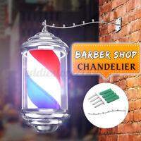 Barber Pole LED Rotating Sign Red White Blue Stripes Light Heavy Duty Salon ;