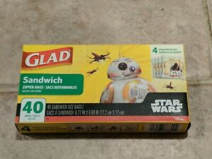 GLAD Sandwich Zipper Bags  40 Count Box