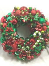 Vintage Christmas ornament wreath 20 Inch 25159 Red Green Germany Glass