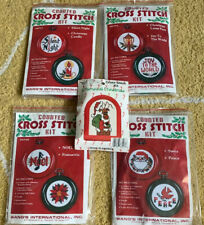Vtg. Counted Cross Stitch Christmas Ornament Kits NOS Lot Of 5 Makes 9 Ornaments