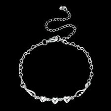 "Sterling Silver Filled Ankle Bracelet 10"" Adj. Heart Chain & Heart & Wing .925"