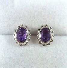 1.50 ct Genuine Purple Amethyst 925 Sterling Silver Flower Stud/Post Earrings