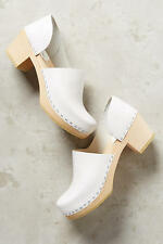 Anthropologie SANDGRENS BRETT D'ORSAY CLOGS 9 White Leather Wooden Slip On Shoes