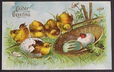 Cute Chicks Check out LADYBUG on a Basket of Fancy Easter Eggs ASB postcard