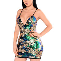 Sexy Women V Neck Spaghetti Strap Paillette Bodycon Cocktail Clubwear Mini Dress