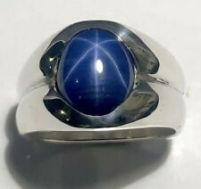 MJG STERLING SILVER MEN'S RING.12 X 10mm LAB BLUE STAR SAPPHIRE.SEMI-BEZEL SZ 10