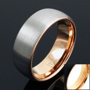 Engraved Tungsten Men's Rose Gold Brushed Wide Center Stripe Band Ring