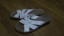 Comfort casual 38 5uk slip sandals Leather upper white low wedge beach holiday