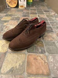 Allen Edmonds Chester Wingtip Oxford Shoes Sz 9.5 B Brown Leather Suede
