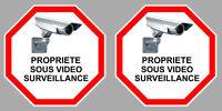 X2 PROPRIETE VIDEO SURVEILLANCE CAMERA 9cm AUTOCOLLANT STICKER (VA095).