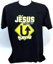 Jesus Allows U Turns L Black Cotton T-Shirt Christian Fruit of the Loom