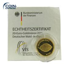 *** 20 EURO GOLD DEUTSCHLAND 2011 J Deutscher Wald Buche Münze Coin KMS ***
