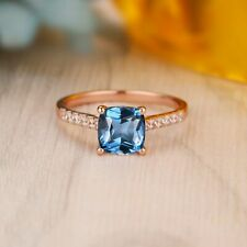 2.58 TCW Cushion Cut Blue Topaz Diamond Engagement Ring In 14k Rose Gold Finish