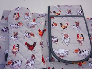 Farmyard Frolics. Available in  Oven Gloves, Oven Mitts, or Tea Towel