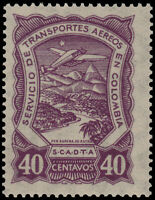 ✔️ COLOMBIA SCADTA 1928 - AIRPLANE OVER RIVER - SC. C43 ** MNH [SCDT43]