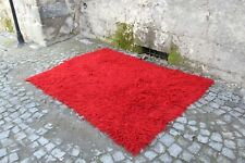 "FREE SHIPPING Vintage Handmade  Turkish Red Shaggy Kilim Rug 7'4""x5'4"""