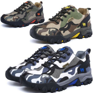 Mens Womens Camo Hiking Trail Trekking Walking Boots Outdoor Trainers Shoes Hot