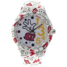 Disney Mickey Mouse White Bangle Gloves Print Analog Watch NEW