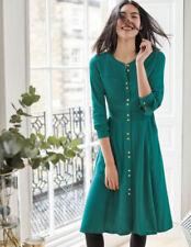 Boden Deep Forest Green Ashbourne Dress UK 12r Button up Shirt Full Skirt