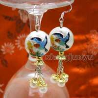Big 18mm White Round Cloisonne & 6-7mm White Natural Pearl Dangle earring-ear595