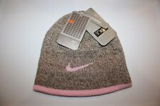 NIKE SIZE GIRLS FULLY REVERSIBLE BROWN & PINK ACRYLIC KNIT BEANIE HAT CAP NEW