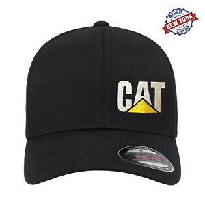 CAT Caterpillar Heavy Machinery Embroidered Flexfit Fitted Ball Cap Black Camo