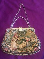 Ernest Women Tapestry Bag Handbag Purse Silver Color Chain Vintage
