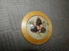 Mini Pine Cone Bubble Glass Picture Vintage w/ Millinery Flowers