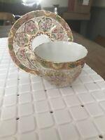 Salisbury Bone China Tea Cup & Saucer Gold Gilded Floral Vintage 2441