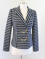 Cache Womens Knit Striped Anchor Chain Accent Nautical Blazer Jacket Size 4