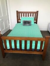 Wooden King Single Bed Frame With Slats and Mattress