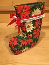 Vintage Quilted Poinsettia Santa Lace Christmas Stocking