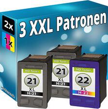 3er XXL Set DRUCKER PATRONEN für HP21XL + HP22XL DeskJet TINTE REFILL KOMPATIBEL
