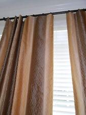 LEE JOFA GROUNDWORKS Silk Drapes chocolate sand Stripes Curtains Custom new PAIR
